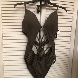 Kenneth Cole One Piece Strappy Bathing Suit